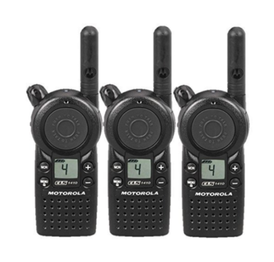 This is an image of a 3 pack Motorola CLS1410 walkie talkie.