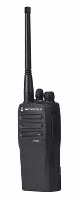 This is an image of a black CP200D analog motorola walkie talkie.