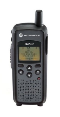 This is an image of a black DTR410 Motorola digital walkie talkie.