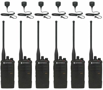 This is an image of a 6 pack black RDU4100 Motorola walkie talkie.