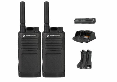 This is an image of a 2 pack black RMU2040 Business Motorola walkie talkie with 2-Rechargeable batteries and charger.