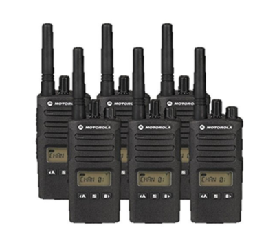 This is an image of a black 6 pack RMU2080D Motorola Walkie Talkie.