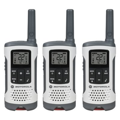 This is an image of a 3 pack Motoro walkie talkie.