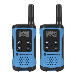 This is an image of black and blue Motorola T100 Talkabout Radio,