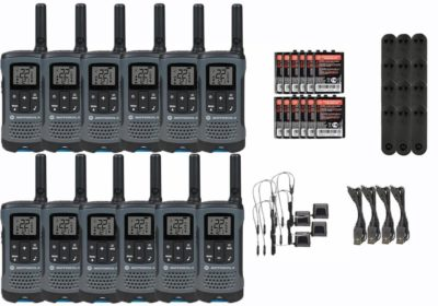 This is an image of a 12 pack T200TP Motorola walkie talkie.