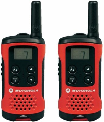 This is an image of a red twin pack T40 motorola walkie talkie.