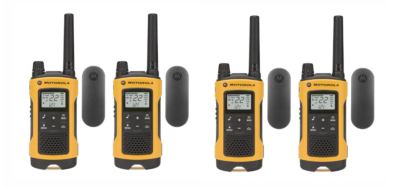 This is an image of a 4 pack yellow T402 Motorola walkie talkie.