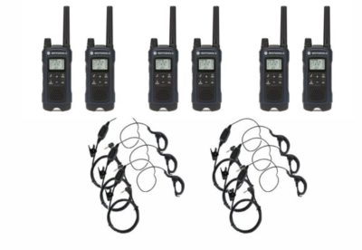 This is an image of a 6 pack black T460 Motorola walkie talkie with 6 curl earpieces.
