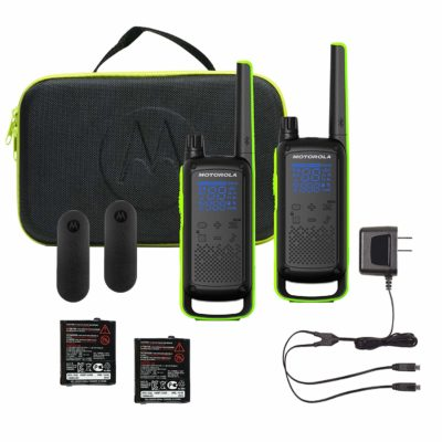 This is an image of a green and black T801 Motorola walkie talkie bundle.