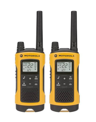 This is an image of a 2 pack yellow Motorola walkie talkie.