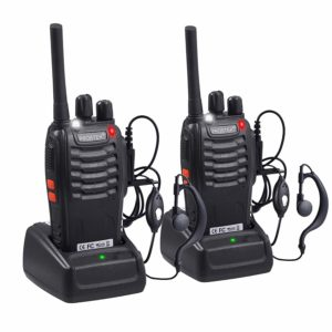 This is an image of two black Retevis R21 walkie talkies with USB Charger and Earpiece