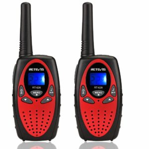 This is an image of two Retevis RT628 Kids Walkie Talkies with black and red color