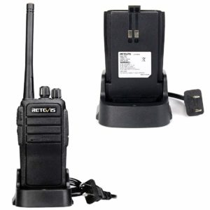This is a picture of one Black Retevis R21 walkie talkie and a charging dock