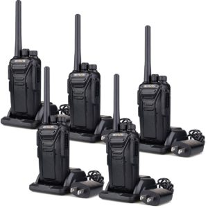 This is an image of five black Retevis RT27 Walkie Talkies
