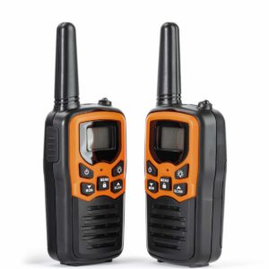 This is an image of two black and orange Rivins RV-7 Walkie Talkies