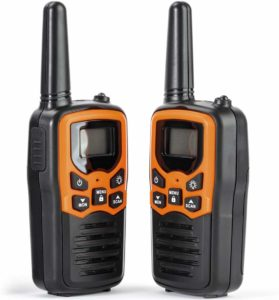 This is an image of two black and orange Rivins RV-7 Walkie Talkie