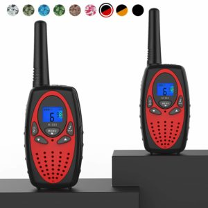 This is an image of 2 Topsung M880 walkie talkies, Black and red