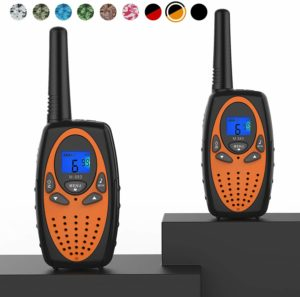 This is an image of two black and orange Topsung M880 FRS  walkie Talkies