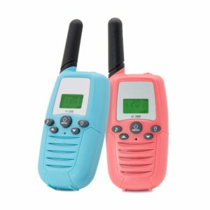 This is an image of two Veroyi Walkie Talkies for Kids, blue and pink