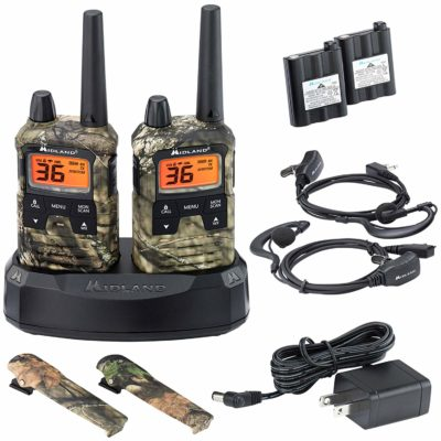 This is an image of a Mossy Oak Camo midland walkie talkie with batteries and charger.