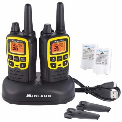 This is an image of a black and yellow Midland - X-TALKER T61VP3 pair pack.