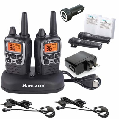 This is an image of a black and silver pair pack X-TALKER T77VP5 Midland with case walkie talkie.