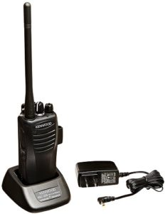This is an image of a black Kenwood TK 3400U4P radio and a charger