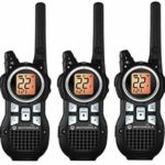 This is an image of three black Motorola MR350TPR walkie talkies