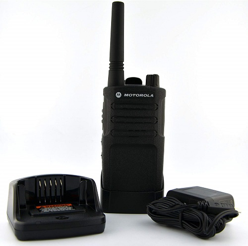 This is an image of Motorola RMU2040 walkie talkie and a charging base