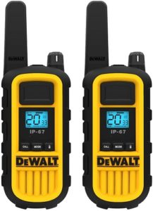This is an image of a DEWALT DXFRS800 Walkie Talkie