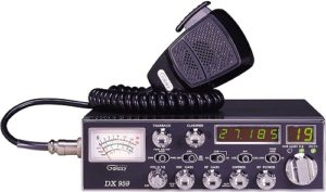 This is an image of a black Galaxy-DX-959 CB radio