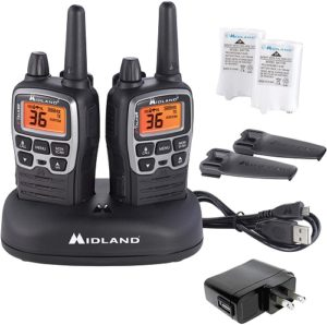 This is an image of a black Midland X-Talker walkie talkie