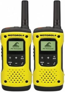 This is an image of a yellow Motorola TLKR T92 walkie talkie