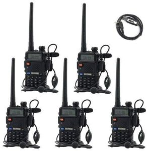 This is an image of BaoFeng UV-5R UHF VHF 5 pack walkie talkies