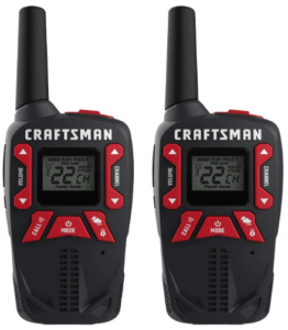 This is an image of a pair pack of black CRAFTSMAN 25-Mile Long Range Walkie Talkies for Adults
