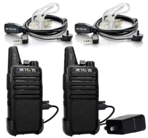 This is an image of a pair pack of black Retevis RT22 Walkie Talkie Long Range,2 Way Radio with headset and charger cable