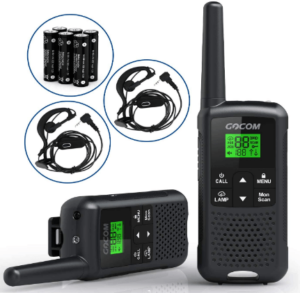 This is an image of a pair pack of black GOCOM Walkie Talkies For Adults with headset and batteries