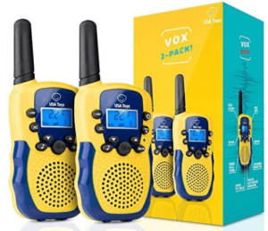 This is an image of a pair pack of USA Toyz Walkie Talkies for Kids in Blue and Yellow colors
