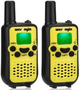 This is an image of a pair pack of black and yellow Wes Tayin Walkie talkies for Kids