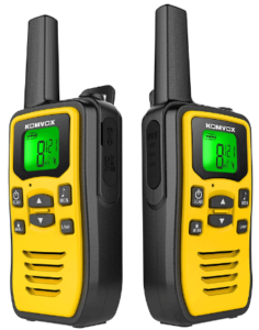 This is an image of a pair pack of black and yellow KOMVOX walkie talkies