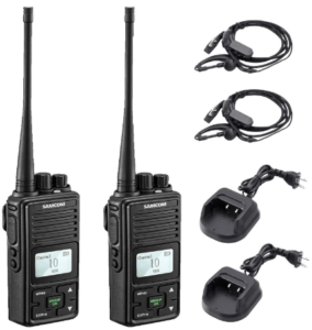 SAMCOM FPCN10A Two Way Radio Rechargeable 3000mAh Battery Business UHF Handheld Ham Walkie Talkie Long Range Radio 20 Channels/Double PTT/LCD Display/Earpieces/VOX/SCASAMCOM FPCN10A Two Way Radio Rechargeable 3000mAh Battery Business UHF Handheld Ham Walkie Talkie Long Range Radio 20 Channels/Double PTT/LCD Display/Earpieces/VOX/SCAN/Lock, 2 PacksN/Lock, 2 Packs