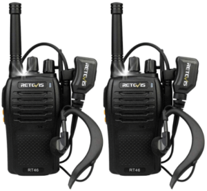 Retevis RT46 Walkie Talkie for Adults Long Range FRS Emergency SOS Dual Power Flashlight Alarm VOX Rechargeable 2 Way Radio with Earpieces(2 Pack)