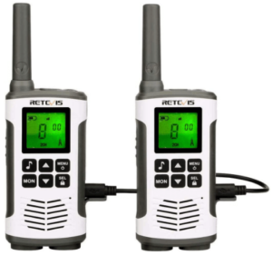 This is an image of a pair pack of black and white Retevis RT45 Walkie Talkies with chargers