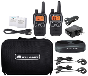 This is an image of a pair pack of black Midland - X-TALKER T77VP5 walkie talkies with case, charger, headset and batteries