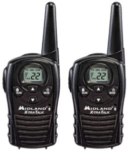 This is an image of a pair pack of black Midland - LXT118, FRS Walkie Talkies