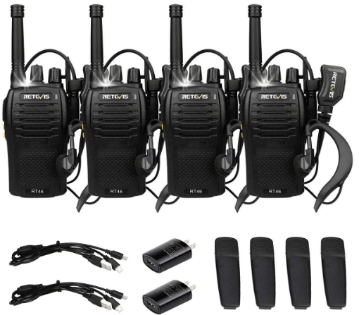 Retevis RT46 Walkie Talkie Rechargeable Long Range Two Way Radio with Earpiece Emergency Flashlight SOS Dual Power VOX 2 Way Radio Adult(4 Pack)