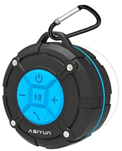 ASIYUN Shower Speaker, IPX7 Waterproof Bluetooth Speaker, Loud HD Sound, Portable Wireless Speaker with Suction Cup & Sturdy Hook, Built-in Mic, for Shower, Pool, Beach, Outdoor(Blue)