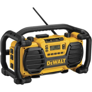 black and yellow Dewalt Radio with a white background