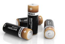 3d rendering AA alkaline batteries on white background