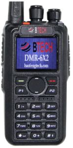 This is an image of a black BTECH DMR-6X2 (DMR and Analog) radio